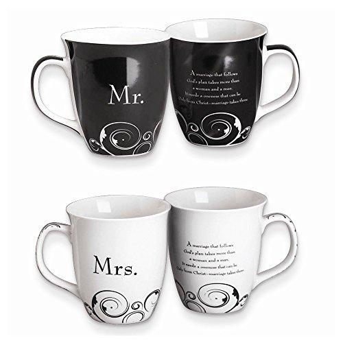 FB Jewels Solid Common Grounds 16 Oz Mr and Mrs Stoneware Mug Set