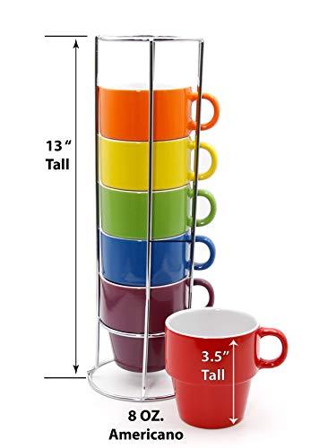 Gypsy Color 8 OZ Americano Stacking Coffee Mug Set with Metal Stand Rainbow Multicolor Hand Glazed Ceramic Stoneware