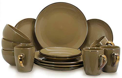 Taupe Hue Dinnerware Plate Stoneware Mug Set 16 Piece Dining Dinner Dessert Bowl Reactive Dish Service 4 Place Home Kitchen Food Service Equipment Supplies Microwave Safe Tabletop Serveware Dishwasher