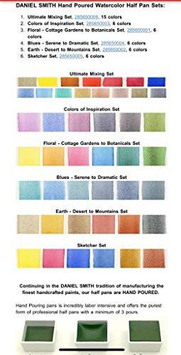 Daniel Smith Hand Poured Watercolor Half Pan Set of 6 with Bonus 9 Empty Half Pans Colors of Inspiration I 285650003