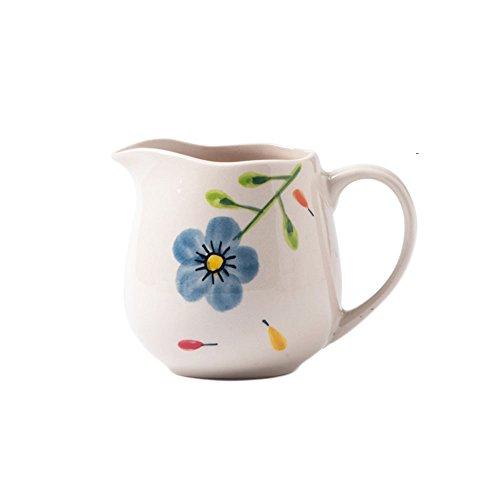 CHOOLD Floral Pattern Ceramic Creamer with HandleCoffee Milk Creamer Pitcher Serving Pitcher Sauce Pitcher Milk Creamer Jug for Kitchen