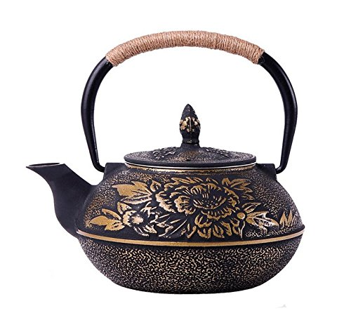 RUIKA Japanese tetsubin Cast Iron Teapot Gold Peony Kettle 900ml 30 Ounce