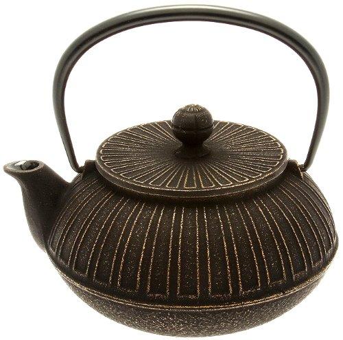 Iwachu Japanese Iron TeapotTetsubin Gold and Black Chrysanthemum