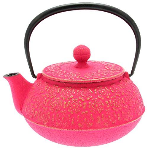 Iwachu Japanese Iron Tetsubin Teapot Cherry Blossoms Gold and Pink