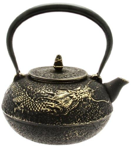 Kotobuki Japanese Iron Teapot Black and Gold Dragon