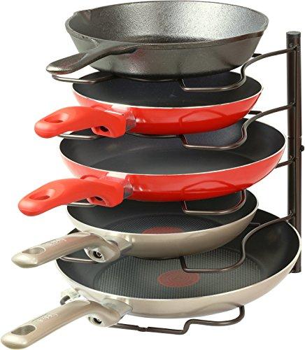 SimpleHouseware Kitchen Cabinet Pantry Pan and Pot Lid Organizer Rack Holder Bronze