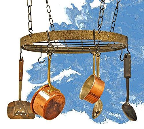 Rogar Gourmet Round Hanging Pot Rack with Grid Hammered BronzeBrass