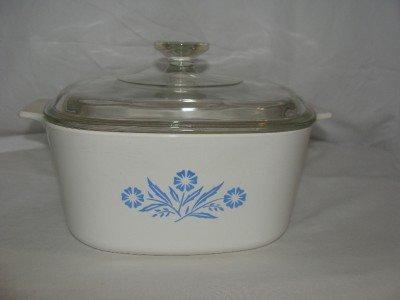 Vintage Corning Ware 3 Quart / Liter Casserole Dish With Lid Cornflower Blue Design A-3-b