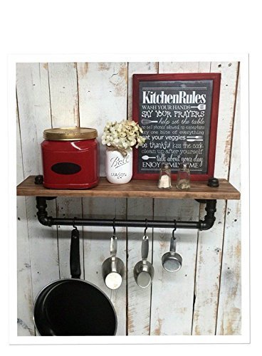Industrial kitchen shelf Rustic kitchen shelves Black Iron Pipe wall hanging industrial décor coffee bar and pot hanger décor home