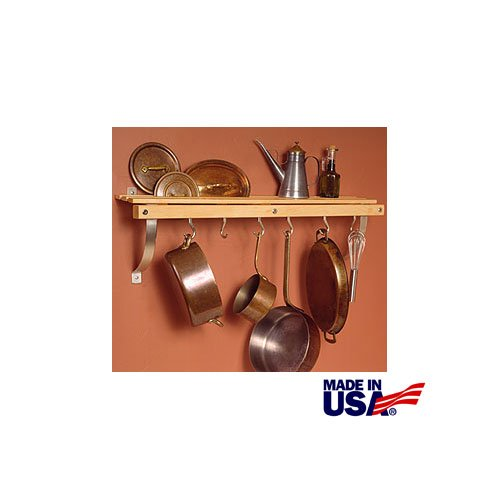 JK Adams 36-Inch-by-11-Inch Wall Mounted Pot Rack 6 Hooks Included