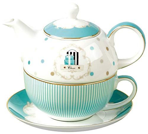 Jusalpha Bone China Blue Teapot and Server Set for One Teapot Cup and Saucer Set Teapot Set 04
