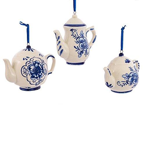 Kurt Adler 2-3 Porcelain Delft Blue Teapot Ornament Set of 3