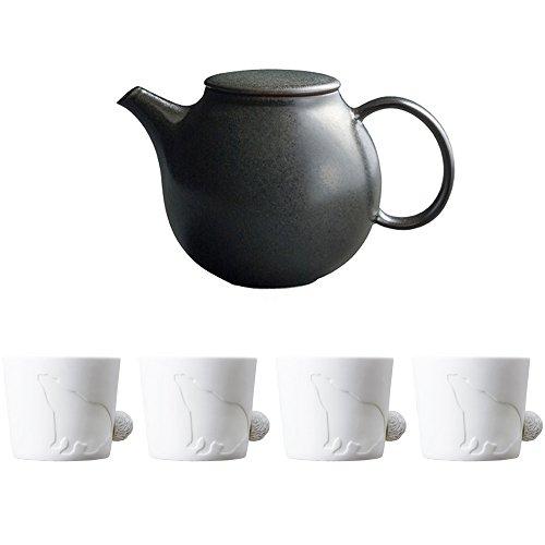 KINTO PEBBLE Black Porcelain Teapot and Four MUGTAIL Bear Porcelain Mug Set of 5