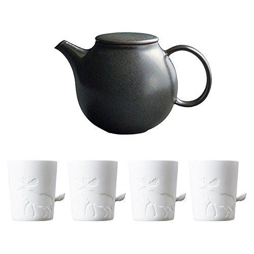KINTO PEBBLE Black Porcelain Teapot and Four MUGTAIL Moose Porcelain Mug Set of 5