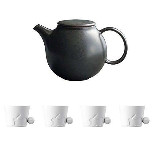 KINTO PEBBLE Black Porcelain Teapot and Four MUGTAIL Rabbit Porcelain Mug Set of 5