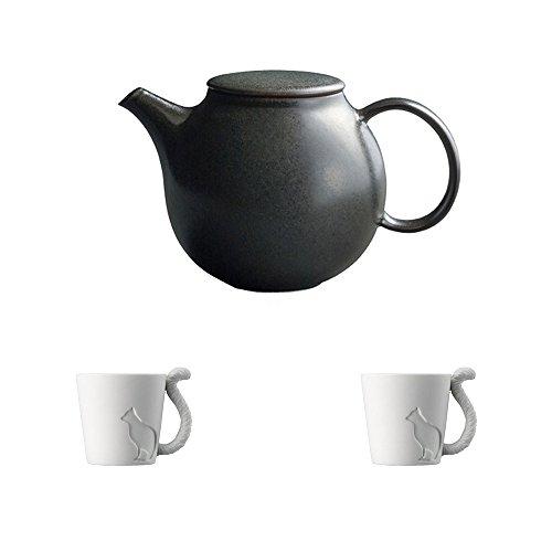 KINTO PEBBLE Black Porcelain Teapot and Two MUGTAIL Cat Porcelain Mug Set of 3