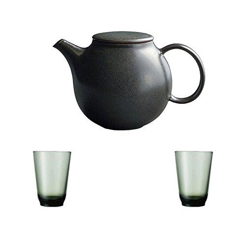 KINTO Pebble Black Porcelain Teapot and Two HIBI 350ml Green Glass Tumbler Set of 3