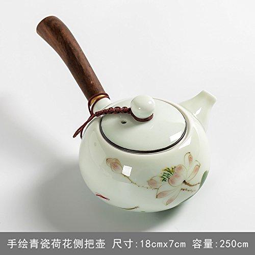 CLG-FLY Ebony wood hand-painted teapot ceramic side tea pot ceramic tea pot long handle2