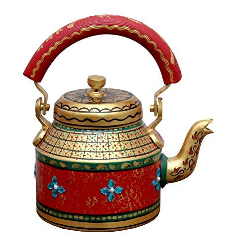 Prastara Indian Hand-Painted Tea Pot Tea Kettle Vintage Teapotuse in Culture FunctionPicnic Showpiece