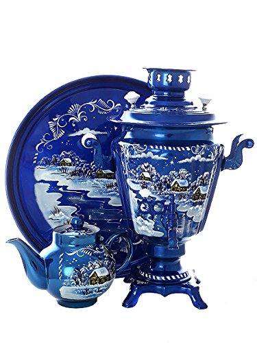 Tea Set Electric Tula Samovar Khokhloma Troyka Winter Hand Painted  Teapot Salver