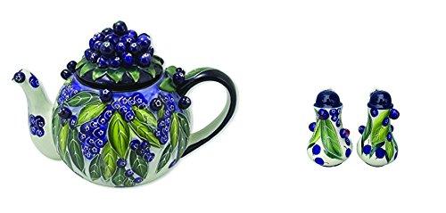Blue Sky Ceramic Blueberry Teapot and Salt and Pepper Shaker Set