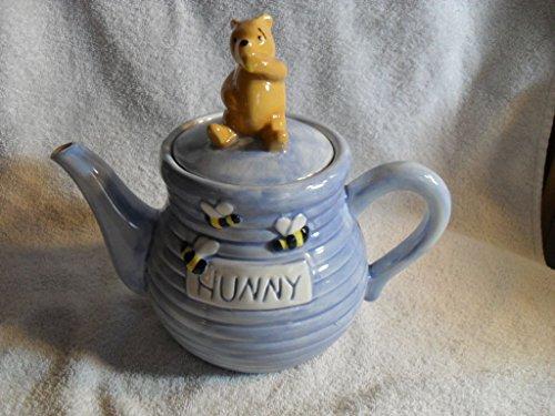 Disney Treasure Craft Winnie The Pooh Hunny Pot Teapot Blue Honey Bee Tea Coffee