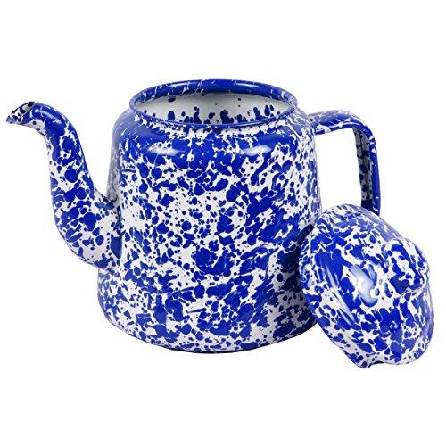 Enamelware 52 Ounce Teapot - Blue Marble