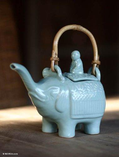 NOVICA Good Luck Serveware Ceramic Teapot Blue 27 oz Buddha And The Turquoise Eleph
