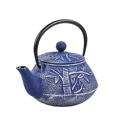 Spigo Yamanashi Cast Iron Enamel With Stainless Steel Infuser Teapot Blue 30 Ounces