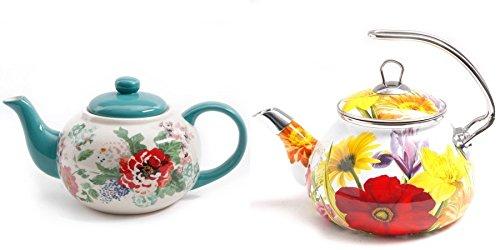 The Pioneer Woman Country Garden Teapot Bundle with Flower Garden 2 3 qt Tea Kettle
