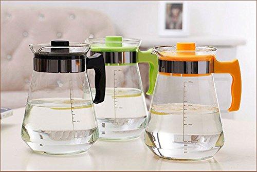 Dealgald Heat Resistant 2000ml Big Capacity Thick Glass Teapots Water Carefe Coffee Juice Tea Kettle Tea Jug with PP Lid Drinkware Random Color