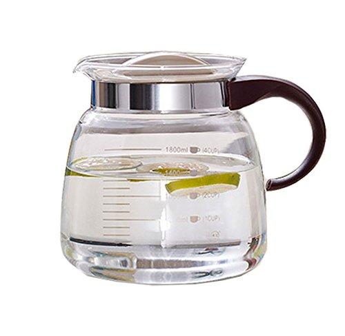 Dealglad 1800ml  60 Oz Heat resistant Glass Teapots Water Pot Coffee Juice Kettle Stove Glass Pot Tea Jug Tea Jug Office Kitchen Drinkware