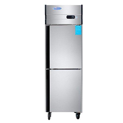 500L 2-Door Reach-in Restaurant Kitchen Stainless Steel Commercial Cabinet Refrigerator Meat Port Beef Steak Freezing Upright Freezer Fridge Machine 177 cubic feet