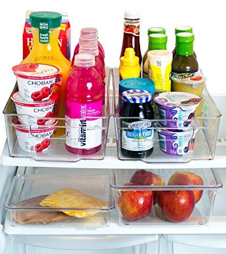 Premium Misc Home Refrigerator Organizer Bins – 2 Large Stackable Fridge Organizer Bins with Handles and 2 Nesting Fridge Bins w Lids – For Fridge Freezer and Kitchen Pantry Organizer Bins