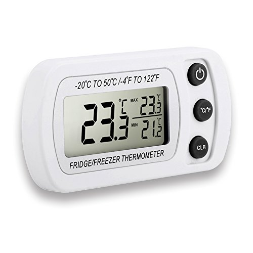 Fridge Thermometer Dreamiracle Waterproof Digital Freezer Refrigerator Thermometer with LCD Display and MaxMin Function for Home Kitchen Restaurants Bars Cafes White