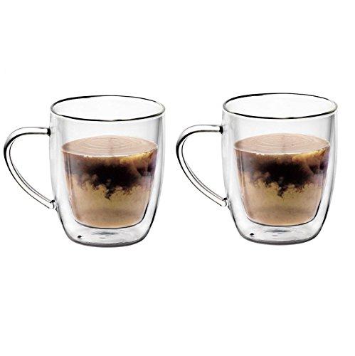 20 OZ Set of Borosilicate Glass Coffee Mugs With Handles – Double Wall Glass Mug Set 2