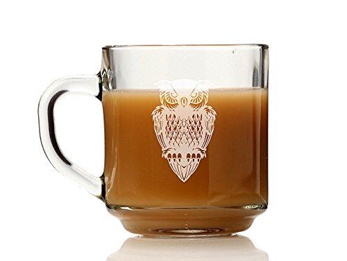 Chloe and Madison Owl Glass Coffee Mug Set of 4