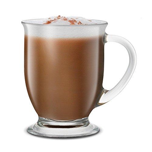KooK Café Coffee Or Tea Glass Hot Mugs Set 15oz Set of 6