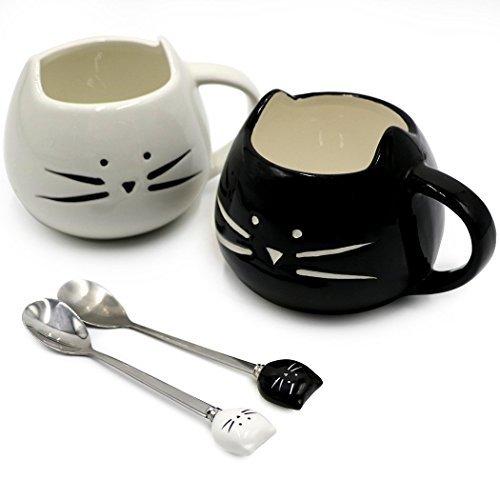 Koolkatkoo Cute Cat Ceramic Black White Kitty Cat Mugs and Spoons Set 12 oz  Coffee Mug Gift Cat Lover Gift Anniversary Gift