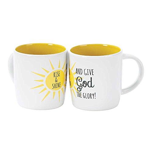 Rise Shine Give God the Glory Sunshine 12 Ounce Bone China Coffee Mug