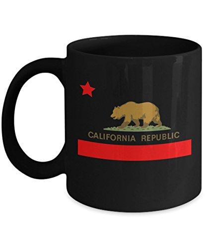 California Republic Novelty Acrylic Coffee Mug 11oz Black State Flag w Bear