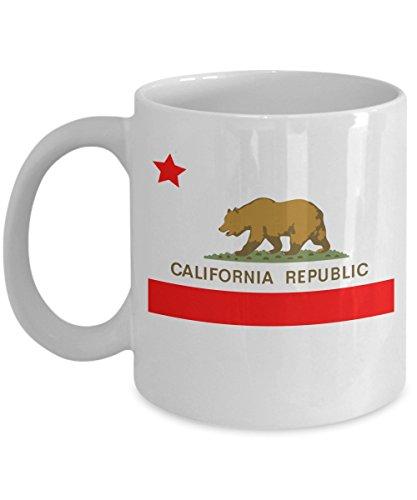 California Republic Novelty Acrylic Coffee Mug 11oz White State Flag w Bear