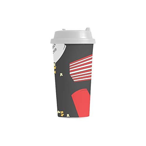 Cool Mugs For Women Retro Cartoon Fashion Creative Popcorn 16 Oz Double Wall Plastic Cups Commuter Travel Coffee Mugs For Women Drink Sports Water Man Mug