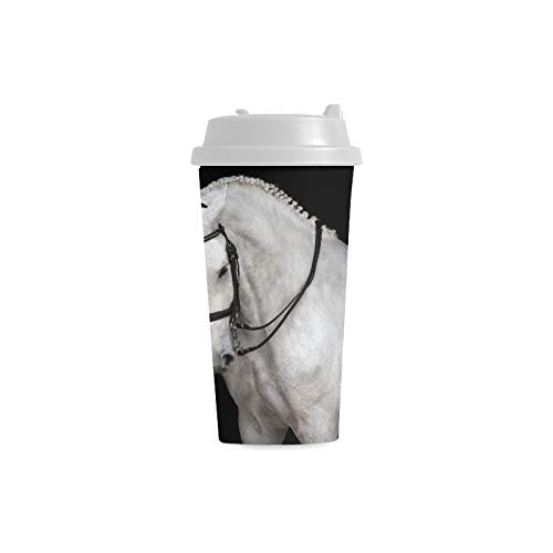 Cup White Horse Portrait Dressage Bridle Isolated 16 Oz Double Wall Plastic Cups Commuter Travel Coffee Mugs For Women Drink Sports Water Small Coffee Cups