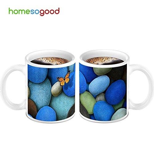 HomeSoGood Butterfly On Stones Coffee Mugs 2 Mugs