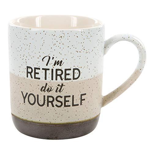 Pavilion Gift Company 23514 Large 15 Oz Stoneware Coffee Cup Mug Im Retired Do It Yourself 15oz Grey