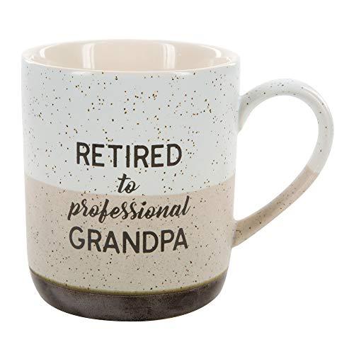 Pavilion Gift Company 23518 Large 15 Oz Stoneware Coffee Cup Mug Retired To Professional Grandpa 15oz Grey