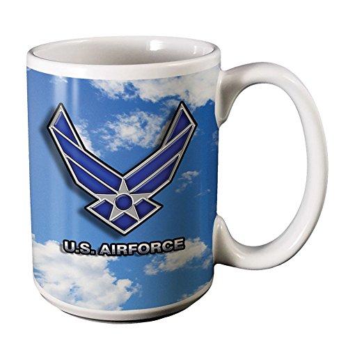 Military Air Force Logo - Ceramic 14 Oz Coffee Mug w Cloud Sky Background