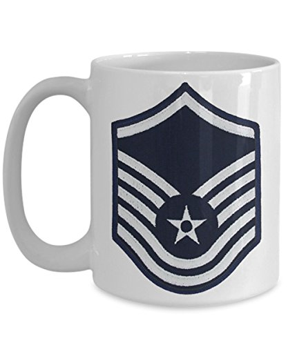 US Air Force Coffee Mug - Master Sergeant - MSgt E7 - 15 oz Mug - Gift for Veteran Airman Promotion Retirement