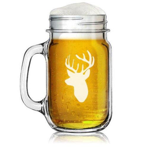16oz Mason Jar Glass Mug w Handle Deer Head With Antlers Hunting